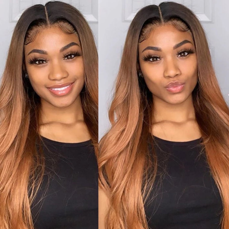 Ombre honey blonde Body Wave Wig Lace Front Human Hair Wigs