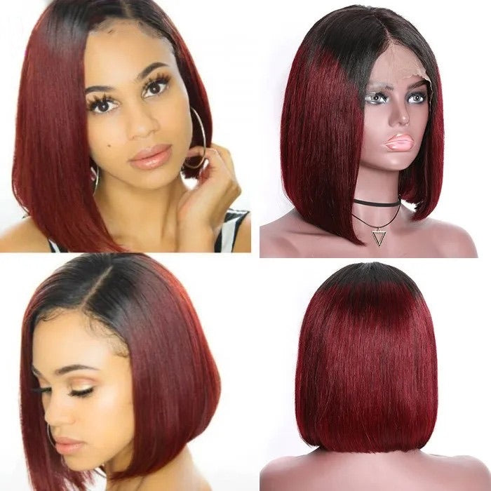 Burgundy ombré Bob front lace wig human hair