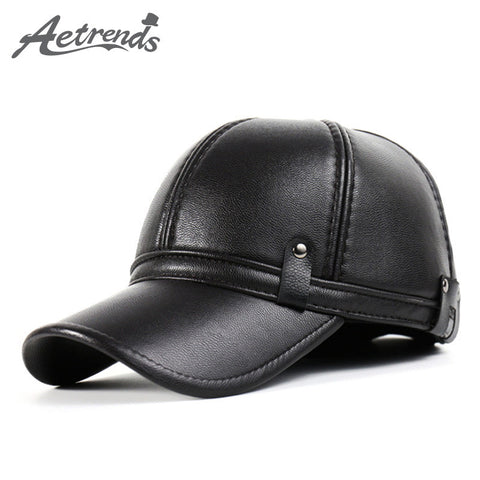 6d906ce1 [AETRENDS] 2016 New Winter Leather Baseball Cap Men Polo Hat with Ears Warm  Hats