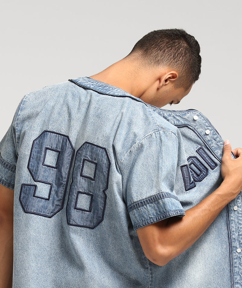 DENIM BASE BALL JERSEY - Blue Wash