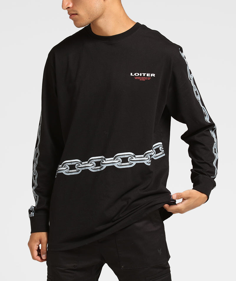 CHAINED LS TEE - Black