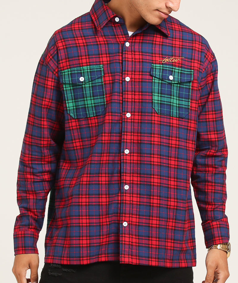 COLOUR BLOCK TARTAN BUTTON UP - Magenta/Green