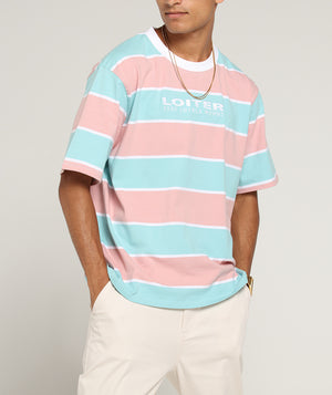 THICK STRIPE TEE - Pastel Blue/Pin