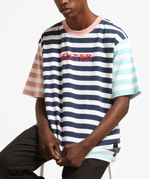 PASTAL COLOUR BLOCK STRIPE TEE - Pastel Blue/Pin