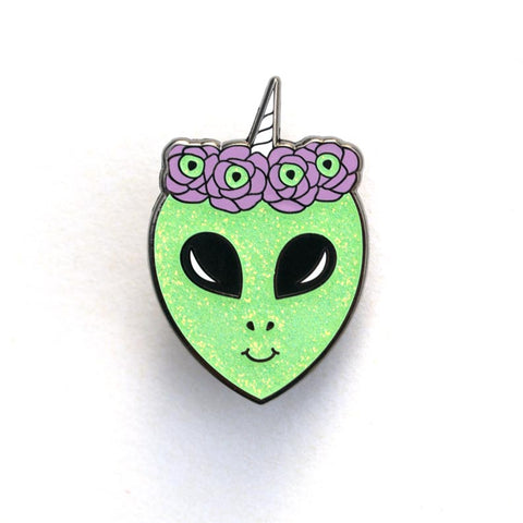 Alien Unicorn Flower Crown Enamel Pin
