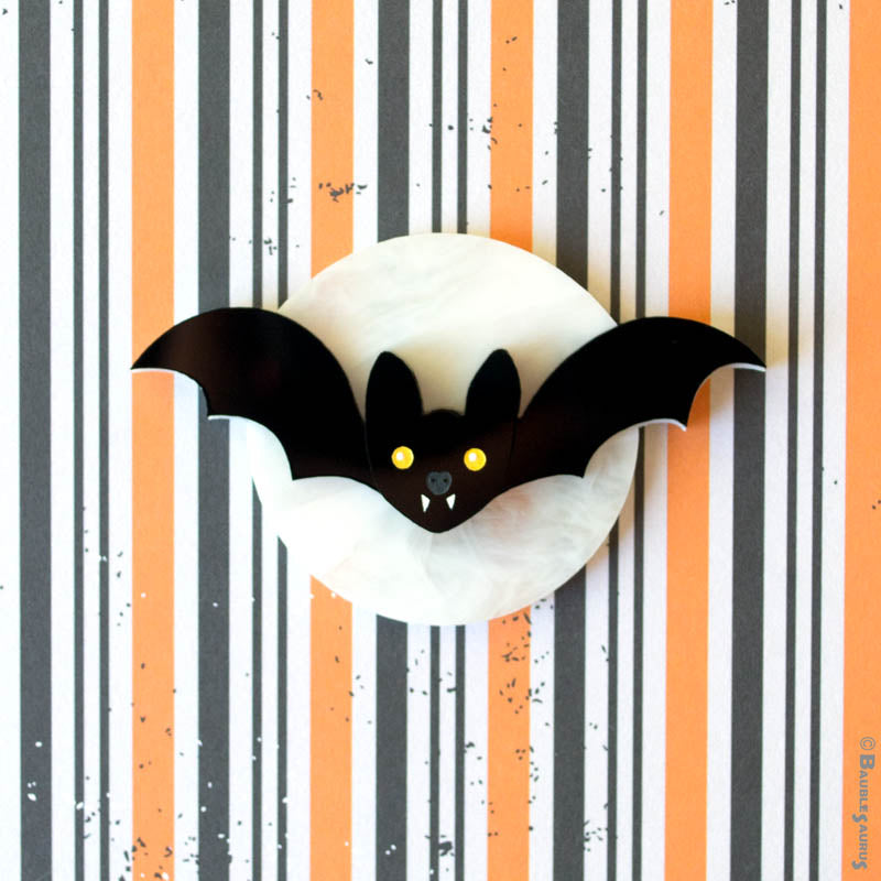 Moon Bat Acrylic Brooch