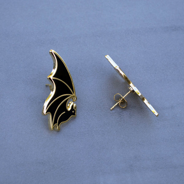 Flying Bat - Enamel Earrings