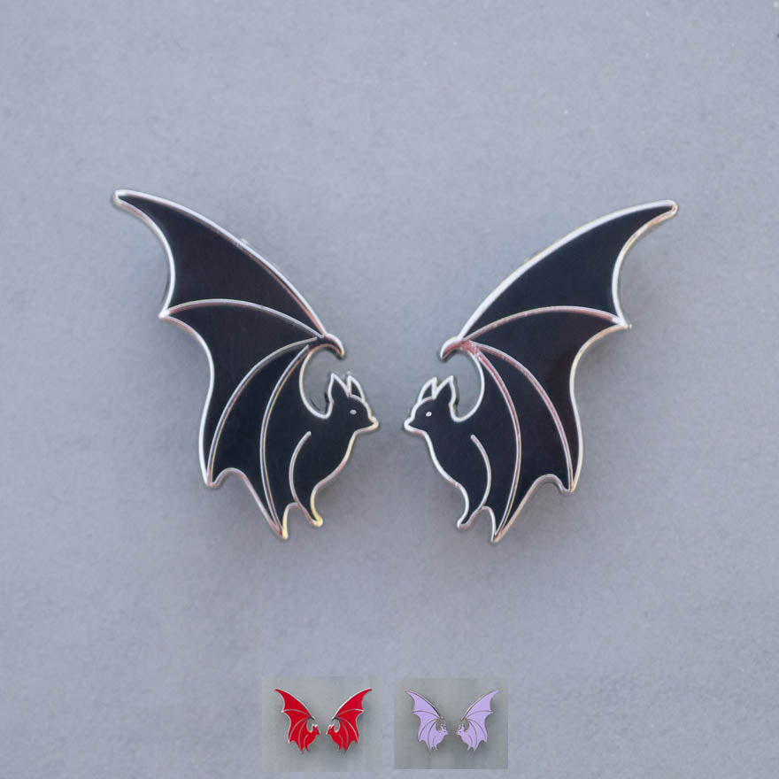 Flying Bat Collar Pin Set