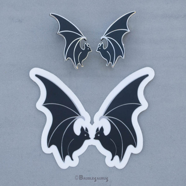 Flying Bat Collar Pin Set (Black)