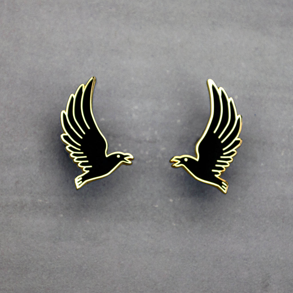 Flying Crow - Enamel Earrings