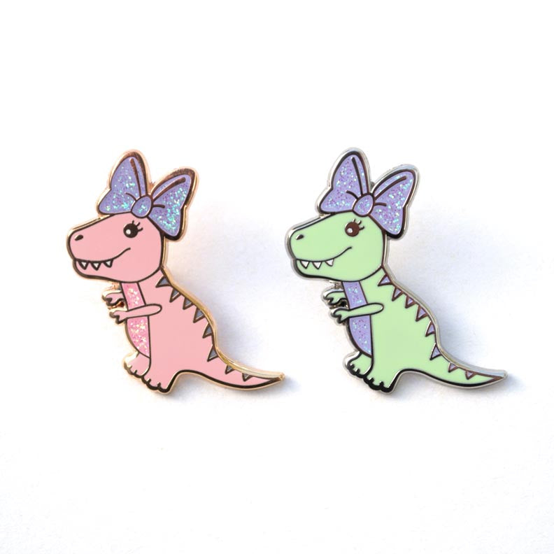Little T-Rex Big Bow Enamel Pin