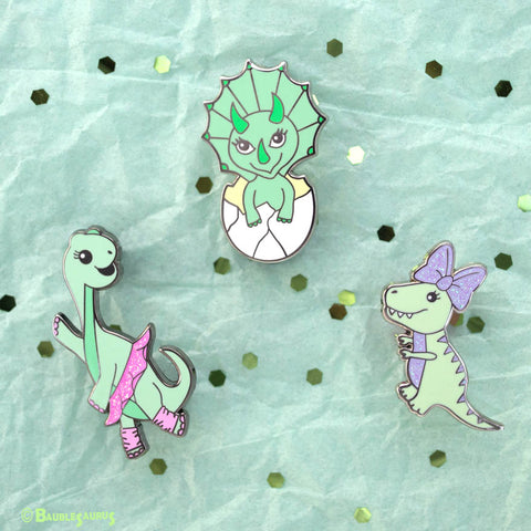 Green Dinosaur Pin Set