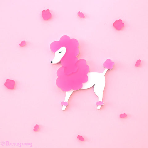 Pink Poodle - Acrylic Brooch