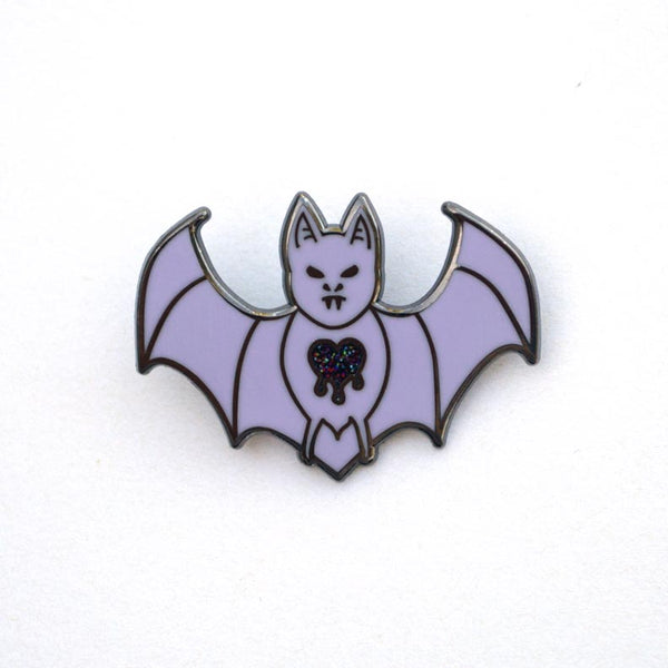Bleeding Heart Bat Enamel Pin