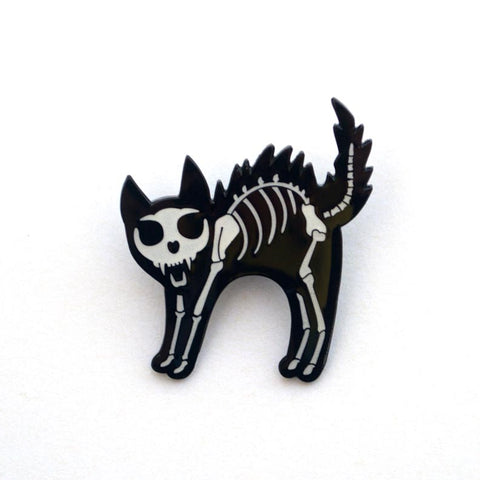 Skeleton Cat Enamel Pin