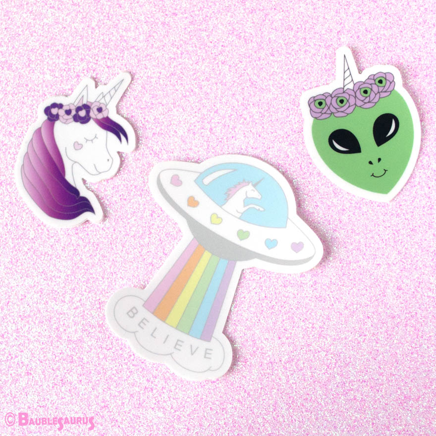 Alien Unicorn Sticker Set