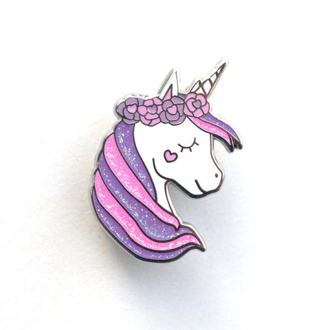 Unicorn Flower Crown Enamel Pin