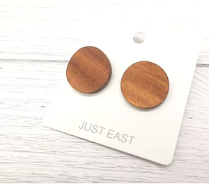 Earrings - Wooden Flat Discs