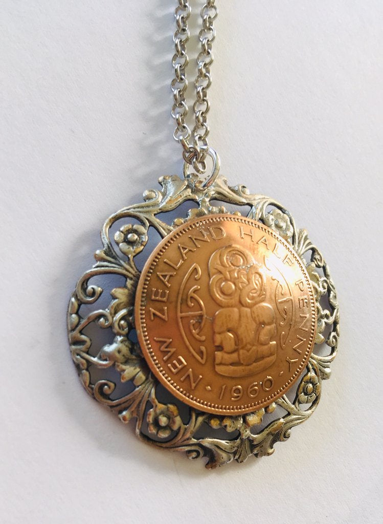Large Half Penny Floral Circle Pendant - Mixed Metal