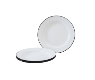 Dishy Enamel Dinner Plate - 26cm Wh/Blk