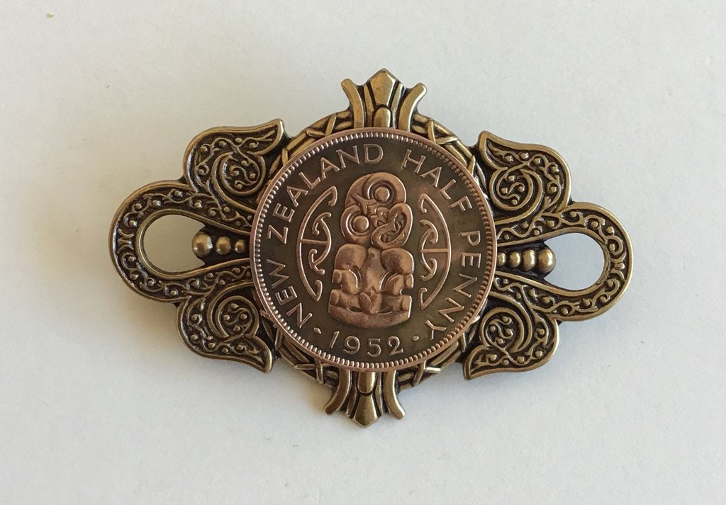 Large Crest Brooch - Brass Half Penny