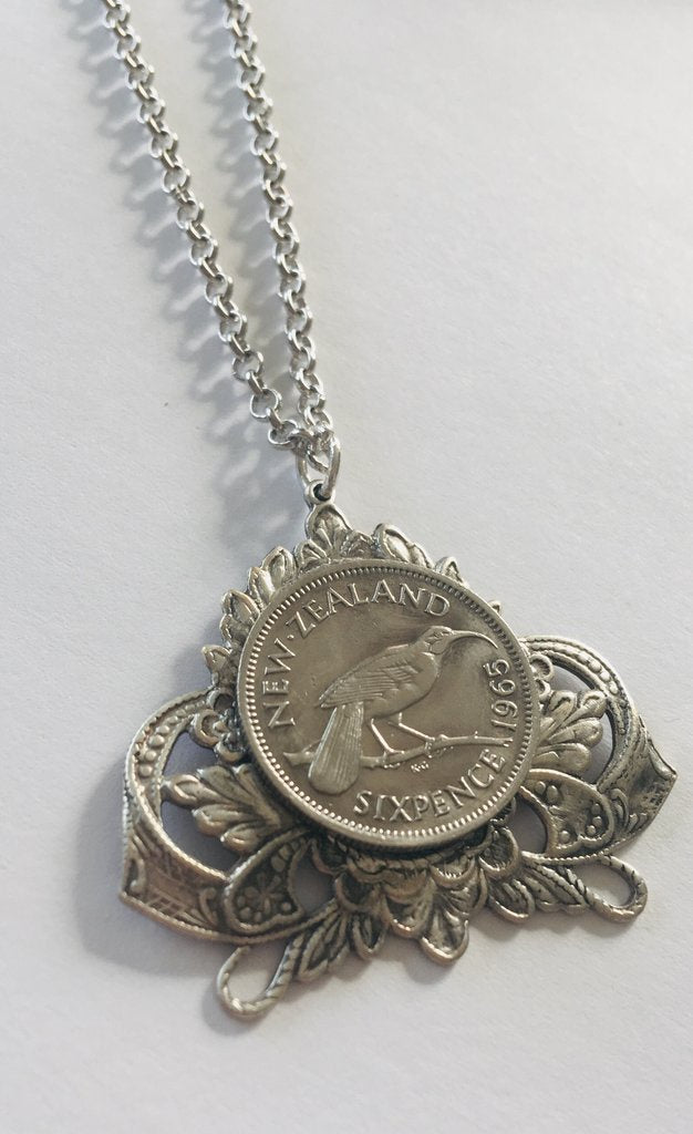 Crest Frame Pendant - Silver Sixpence