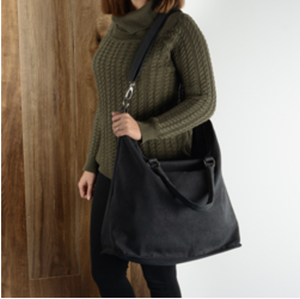 Rita Canvas Shoulder Bag Black