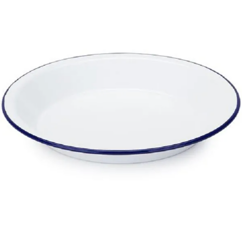 Falconware Enamel Pie Plate - Blue & White