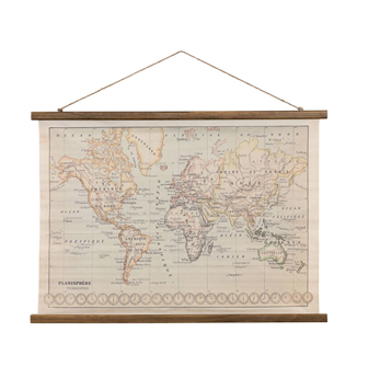 Vintage Canvas World Map Print
