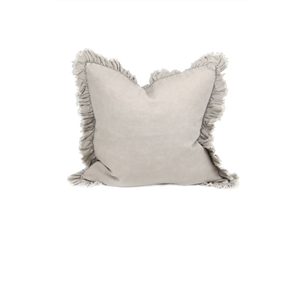 Linen Cushion w/ Frill Taupe