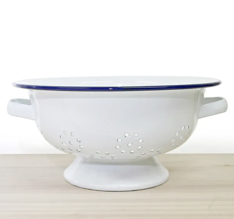 Falconware Enamel Colander  - Blue & White