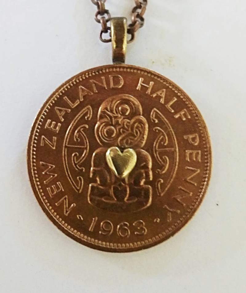 Half Penny with Tiny Brass Heart