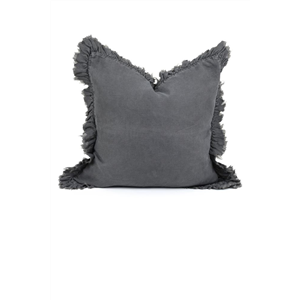 Linen Cushion w/ Frill Charcoal