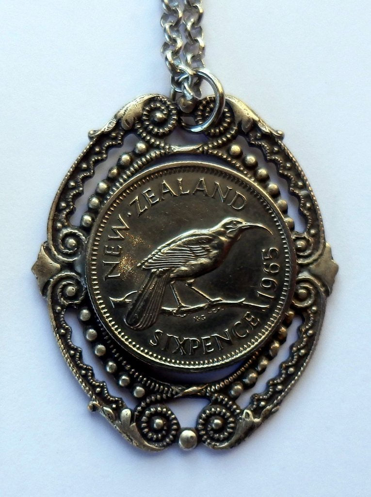 Sixpence Pendant with Ornate Frame - Silver