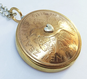 Domed Bezel Mixed Metal Pendnt - One Penny