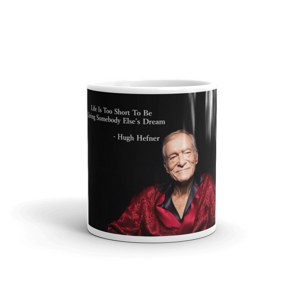 Hugh Hefner Mug - Chilling In Silk Robe & Quote