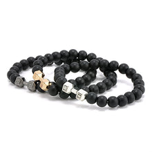 ''Live Lift'' Black Stone Beads with Dumbbells