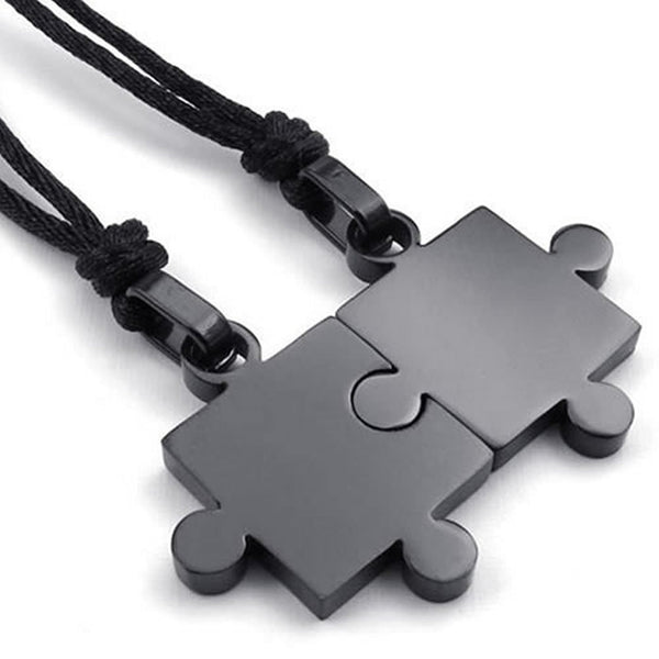 2pcs Couples Black Stainless Steel Puzzle Pendant