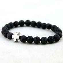 Black Lava Stone Bead Cross Bracelet - 10 Cross Colors