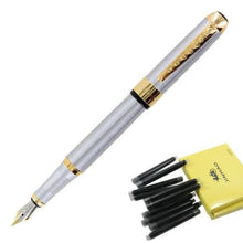 Stainless Steel Gold Trim Fountain Pen with 10Pcs Black Ink Refills