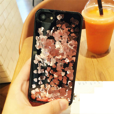 Dynamic Heart Shaped Glitter - Black Case