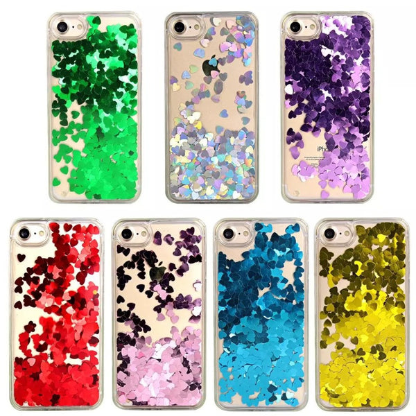 Dynamic Heart Shaped Glitter Iphone Cover