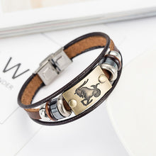 12 zodiac signs Bracelet With Stainless Steel Clasp Leather Bracelet