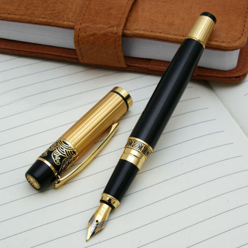 Hero Black Fountain Pen With Golden Finish