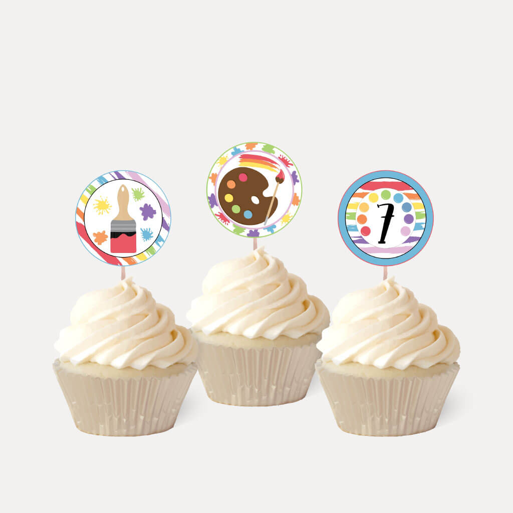 Art Kids Party Cupcake Topper Printable Template