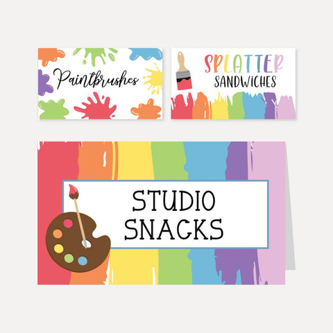 Art Kids Party Food Tent Cards Printable Template