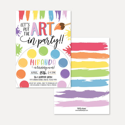 Art Kids Party Invitation Printable Template