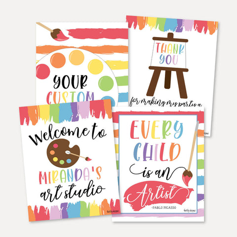 Art Kids Party Sign Set Printable Template