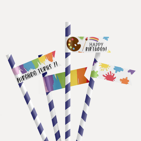 Art Kids Party Straw Flag Printable Template