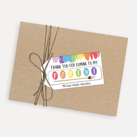 Art Kids Party Thank You Favor Tags Printable Template